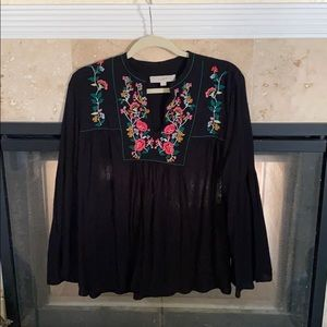 Loft Embroidered Bell Sleeve Peasant Top